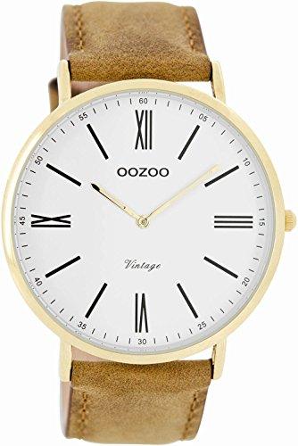 Oozoo Vintage Ultra Slim Leder 44 MM Gold/Weiss/Braun C7700