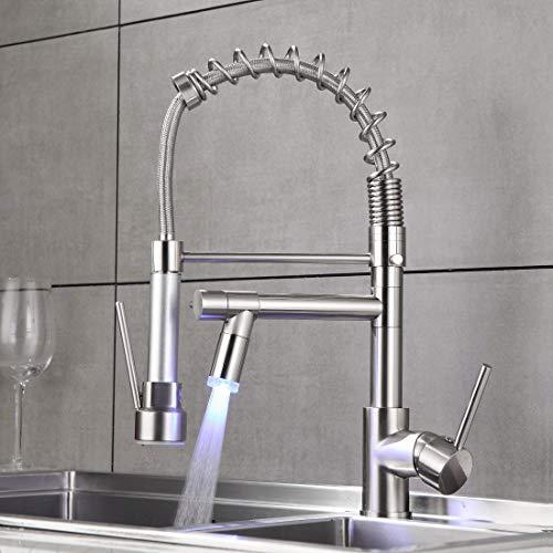 QD Wasserhahn Küche Gebürstetes Nickel mit LED Mischbatterien fuer Kueche Gastro Armatur Einhandmischer für Küchen Spüle Küchenspüle Spülbecken
