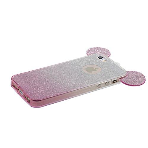 iPhone 5 étui Cover Housse, Coque iPhone 5S SE 5C 5G, Silicone Case poussière glissement résistant aux rayures (3D Oreille de souris) jaune Pink