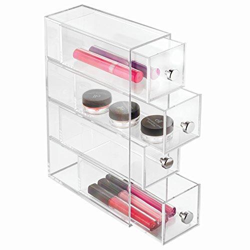 InterDesign Drawers Schubladen Organizer | drehbare Badezimmerablage mit 4 Schubladen für Kosmetik & Accessoires | Schubladenbox auch für Büro Zubehör | Kunststoff transparent