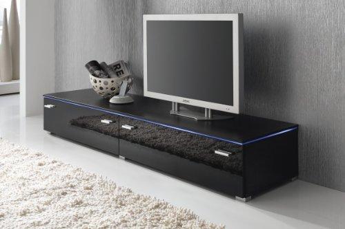 Lowboard TV Schrank TV-Element 180 cm schwarz Fronten Hochglanz, optional LED-Beleuchtung, Beleuchtung:ohne Beleuchtung (6 Fach-tv-kommode)