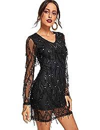 SheIn Damen Kleider V-Ausschnitt Partykleider Minikeid Netzstoff Einfarbig  Kleid mit Pailletten c7816eb434