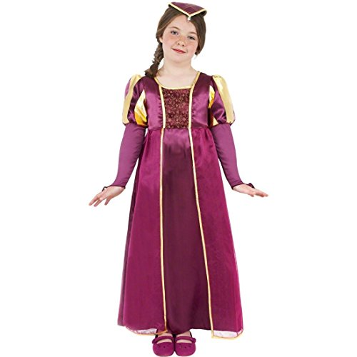 NET TOYS Kinder Burgdame Kostüm Burgfräulein Kostüm Violett -