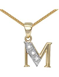 Jewelco London 9 Carat Yellow Gold Elegant 2pts Diamond-Set Pendant on an 18 inch Pendant Chain Necklace - Inital M