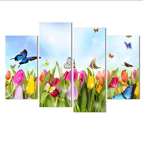 Mubgo Impresiones Pintura De Lienzo Tulipán Y Flor