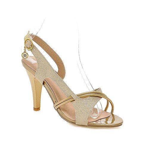 Odomolor Donna Punta Aperta Fibbia Tessuto Lucido Colore Assortito Tacco Alto Sandali Oro