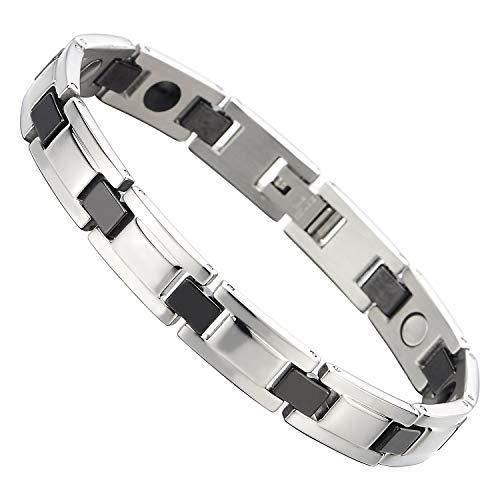 COOLSTEELANDBEYOND Herren Damen Edelstahl Schwarz Keramisch Magnetisches Armband mit Magneten Germanium, Link-Tool zum Entfernen (Armband Mit Magneten)