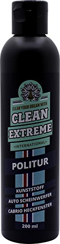 CLEANEXTREME Kunststoffpolitur 200 ml - Politur zum Polieren von Kunststoff Scheinwerfer von Auto & Motorrad und Cabrioscheiben (Kunststoff Heckscheiben)