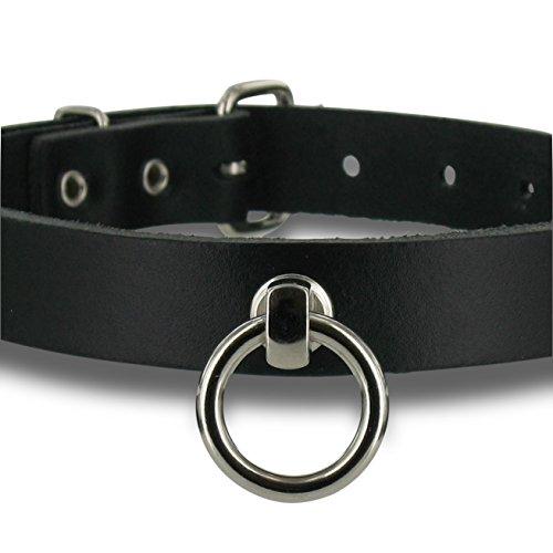 SiaLinda: Halsband echt Leder schwarz, schmal, O-Ring 20mm, inkl. Geschenkverpackung, Halsband SM BDSM Bondage Fetish Gothic. Echtleder. Made in Germany. Topqualität!