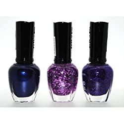1 Eye Products Purple Addiction 3 Piece Color Nail Lacquer Combo Set - Covalt Sparkle Purple Glitter