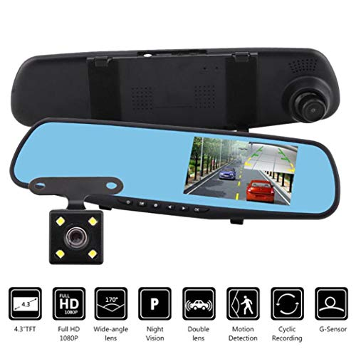 rder Kamera DVR für Fahrzeuge vorne und hinten, H1688 HD 1080P 4.2 Zoll Monitor Dash Cam Rückspiegel Unterstützung Englisch, Deutsch, Portugiesisch, Französisch, Italienisch etc. ()