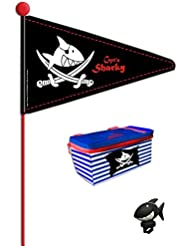 """Buntes Angebot """"Capt'n Sharky"""" Fahrradwimpel + Lenkerhupe + Lenkertasche"""