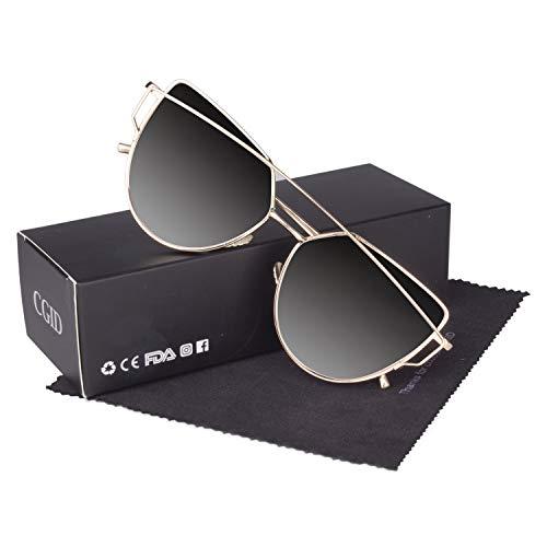 CGID Mode Polarisierte Katzenaugen Sonnenbrille For Damen UV400 reflektierenden Spiegel, A9 Gold Grau,