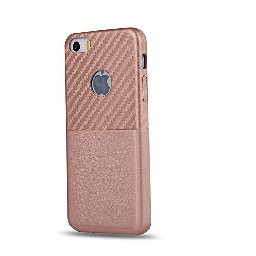 HYAIT® For IPHONE 5S/SE Case[Carbon Fiber][Credit Card Slots] Dual Layer Hybrid Armor Rugged Plastic Hard Shell Flexible TPU Bumper Protective Cover-TANQWE05 BHE05