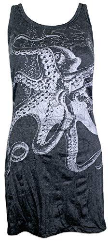 Mädchen Taucher Kostüm - Sure Damen Trägerkleid - Der Große Kraken Größe S M L Oktopus Scuba Taucher Sommer Freizeit Tauchen Strand (Schwarz-Silber L)