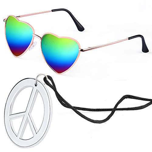 Beelittle Hippie Dressing Zubehörset Herzförmige Sonnenbrille Dünner Metallrahmen Herzstil und Friedenszeichen Halskette (Regenbogen)