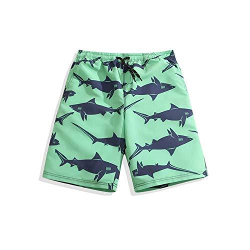 HIAO Sommer Männer Strand Shorts Polyesterfaser Sport Bequem Freizeit Urlaub Seaside Shorts Grün Kleiner Fisch Muster (größe : 5XL) -