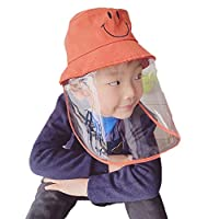 Toddler Kids Anti-Saliva Droplets Hat With Separate Mask Face Cover Epidemic Prevention Fisherman Hat Removable Mask (Orange, Onesize)