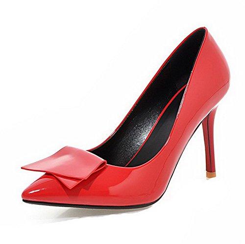 AllhqFashion Femme Couleur Unie Pu Cuir à Talon Haut Pointu Tire Chaussures Légeres Rouge