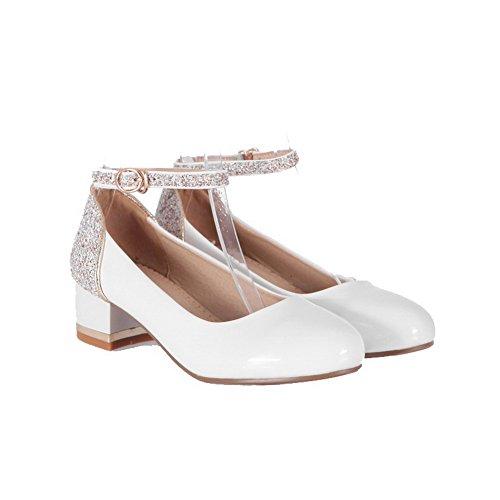 VogueZone009 Femme Boucle Rond à Talon Bas Matière Mélangee Couleur Unie Chaussures Légeres Blanc