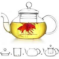 Teapot with Infuser XAGOO Glass Teapot 400ml Borosilicate Glass Tea Pots Tea Strainer for Loose Leaf Tea