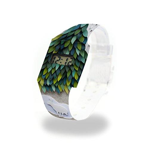SCHNEEHASE Pappwatch/Paperwatch/Digitale Armbanduhr aus Tyvek®, absolut reißfest und wasserabweisend - Dichte, Florale Muster