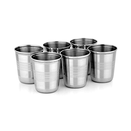 Navisha Stainless Steel 6 Pcs. Glass Set For Tea Purpose 200 Ml
