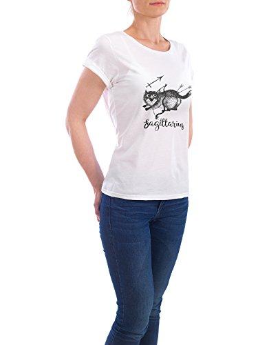 "Design T-Shirt Frauen Earth Positive ""Sagittarius cat"" - stylisches Shirt Tiere Comic von Tatiana Davidova Weiß"
