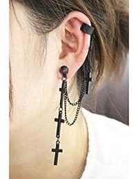 f9d589d86291 ZQword 2 unids Pendientes de Estilo Punk Gótico Joyería Trendy Cruz Borla  Cadenas Ear Cuff para