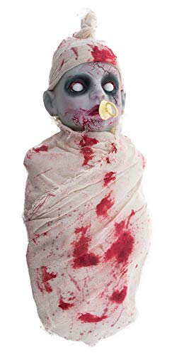 Das Kostümland Weinendes Zombie Baby - 50 cm - mit Ton und Licht - Gruselige Halloween Geister Party Dekoration
