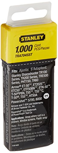 Stanley TRA704SST 1/4-Inch Heavy Duty Stainless Steel Narrow Crown Staples, 1,000-Count by Stanley (English Manual)