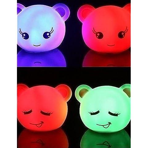 Bling expresión hermoso humor oso led de luz nocturna (color al azar)
