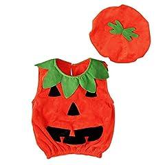 Idea Regalo - Miyanuby Bambino Neonato Pagliaccetto Halloween Party Costume Zucca Tutine Body Cosplay Vestiti per Bebè con Cappello