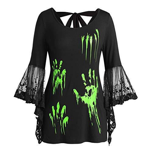 TIREOW Frauen Halloween Bluse Top, Frau Plus Size O-Neck Lace Flare Ärmel Blut Hände Drucken Zurück geknotet Top (L3, Grün)