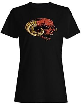Arte del vintage de la novedad del demonio del diablo del cráneo camiseta de las mujeres pp40f