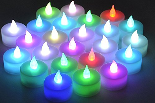 SODIAL(R) 12pcs sin llama LED de 7 colores Cambio chasquear Velas bateria Tea Light Tealights + Copa