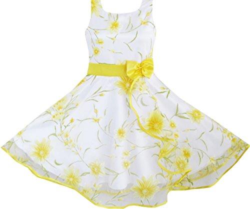 Mädchen Kleid 3 Schichten Sonnenblume Welle Festzug Brautjungfer Gr.140-146 (Festzug-kleid-festzug-kleid)