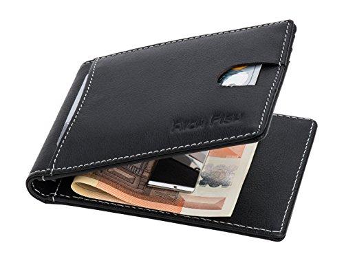 GELDKLAMMER: Echtleder, Kreditkartenetui, Moneyclip, Slim-Wallet,Portmonee, Brieftasche mit Kartenetui, Geldscheinklammer, Portemonnaie mit Geldklammer, Vatertagsgeschenk