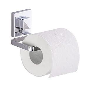 WENKO 22687100 Vacuum-Loc Toilettenpapierhalter Quadro, WC-Rollenhalter, Edelstahl rostfrei, 14 x 6 x 11 cm, Glänzend