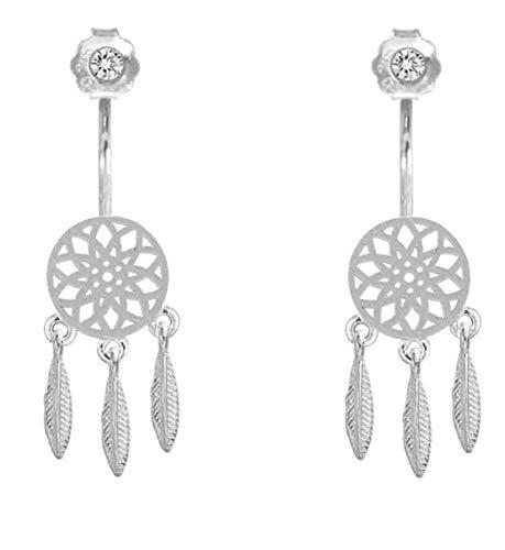 Pendientes de plata de ley con diseño de atrapasueños, atrapasueños, pendientes atrapasueños