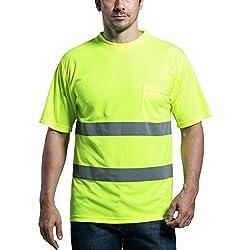 SFVest Camiseta Reflectante Uniforme Polo de Seguridad de Trabajo para Moto Correr - Amarillo - M