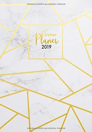 ochen- und Monatsplaner elegant Motiv Marmor mit Mosaik-Linien gold, Din A5, 1 Woche auf 2 Seiten, Typo-Art Kalender Design (Mega schöner Planer für dein neues Jahr, Band 2019) ()
