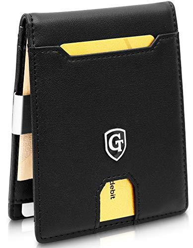 GenTo® Herren Geldbörse New York mit Geldklammer ohne Münzfach - TÜV geprüfter RFID, NFC Schutz - Slim Wallet - Geschenkbox - erhältlich in 2 Farben   Design Germany (Schwarz - Glatt)