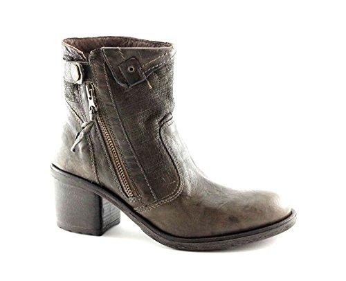 BLACK JARDINS 16120 zip bottines à talons hauts bottes grises femme en cuir Grigio