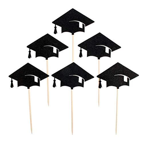 (Yannay Innovativer Deko-Anhänger Kuchen Toppers Graduation Cap Kuchen Dekorative Toppers Cupcake Dekorieren Tools für Party, Packung von 12)
