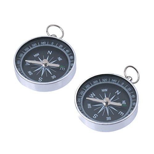Aluminium Outdoor-Camping-Wander-Navigation Kompass Mit Schlüsselanhänger Silber 2pcs