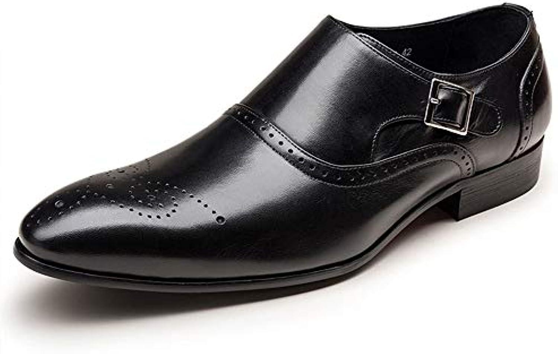 ZHRUI Scarpe da Uomo con Fibbia da Uomo Scarpe Classiche da Uomo Casual da Lavoro (Coloreee   Nero, Dimensione  ... | Primo gruppo di clienti  | Sig/Sig Ra Scarpa
