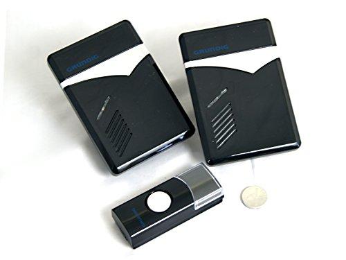 Grundig sonnerie de porte sans kit de sonnette de porte sans fil sonnette carillon sans fil avec 2 boutons de sonnette, 1 x) et 36 tonalités visuel (lED pour l'et clignotant)-outdoor-montage extérieur : étanche, capacité : jusqu'à 80 m
