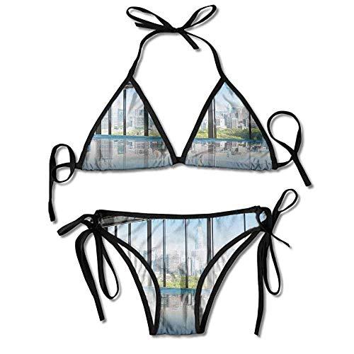 Women's Printing Bikini,York USA in Central Sexy Bikini 2 Pieces (York Halloween In)