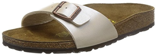 BIRKENSTOCK Unisex Madrid Birko-flor Pantoletten Narrow Fit , Elfenbein (Graceful Antique Lace) , 38 (Schmal) -
